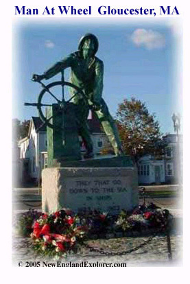 Man at the Wheel Harbor side memorial Gloucester MA